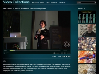 The video collection includes museum lectures, animal feedings, and new ideas in science.