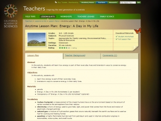 Teachers can access lesson plans with worksheets that download as PDFs.