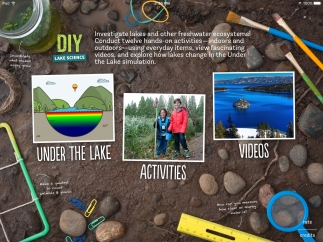 Access activities, video clips, and a lake simulation from the app's home screen.