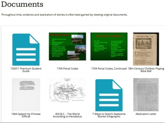 Primary documents are integrated into the different stories.