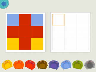 Copy the pattern on the left, block by block, by tapping the same color blobs.
