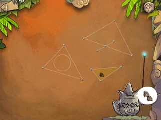 Kids learn the basic attributes of triangles in early puzzles.