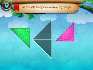 Kids drag and rotate shapes to complete puzzles.