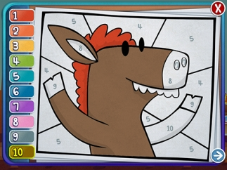 A cute coloring activity teaches number recognition.
