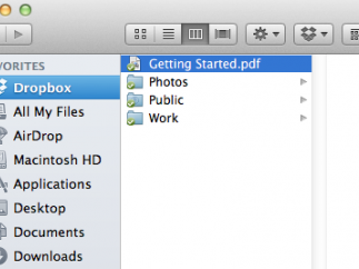 Dropbox appears in line with other Favorites on a Mac OS X.