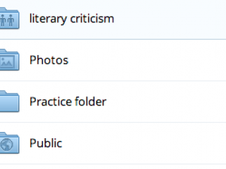 In the online interface, folders display their purposes and properties.