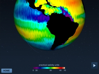 Ocean salinity is displayed as a visually stunning color map on Earth.