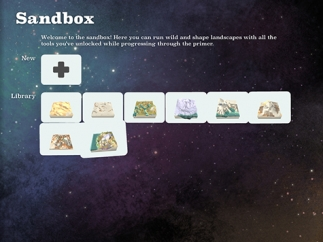 Kids can create their own landscapes in sandbox mode.