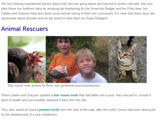 A blog highlights young animal lovers and their stories.