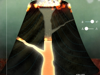 Kids can swipe to create and observe a volcanic eruption.