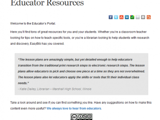 Educator Resources include lesson plans and a blog written by information literacy experts.