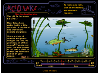 One of the games helps kids learn about the effects of acid rain.
