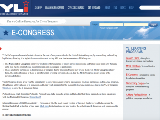Youth Leadership Initiative's E-Congress site takes students through the process of creating, debating, and passing legislation.