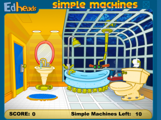Younger content is appropriately quirky; here, an underwater bathroom in the simple machines simulation.