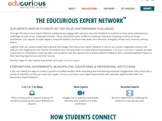 A unique feature, the site's Expert Network serves as a base of mentorship for students and teachers.