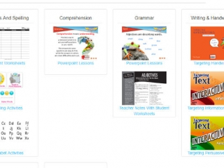 Sort activities by categories like Comprehension and Grammar.