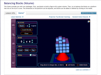 "Older kids will be challenged in ""Balancing Blocks"", while practicing area and volume."