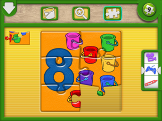 Students can complete either six- or nine-piece jigsaw puzzles representing each numeral, surrounded by that number of objects.