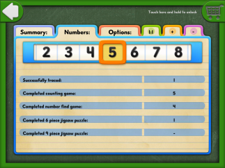 Teachers can review what kids have been working on by tapping the three figures to the left of the start screen.