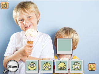 A voice-over describes the context of the picture, and kids must choose which animated face represents the character's emotions.