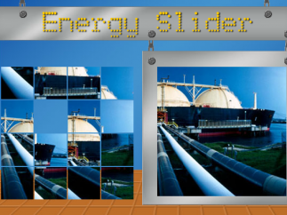 In the energy slider puzzle, kids slide portions of an image around to make a picture.