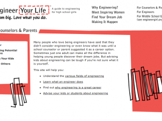 A counselors and parents section offers guidance suggestions for adults to provide girls interested in engineering careers.