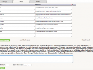 Create flash card sets by entering or importing data.
