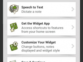 The Explore Evernote screen has tutorial information and some customization options.