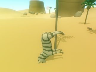 Next, players control a zebra that gains awareness and somersaults through the world.