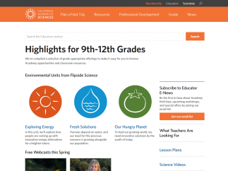 Teacher materials are broken down by grade level, with plenty of resources for K-12.