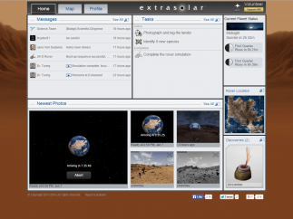 The dashboard shows players their tasks, messages, gallery, and map.