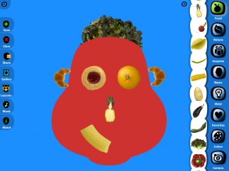 Kids create new faces from everyday objects like food, candy, and toys.