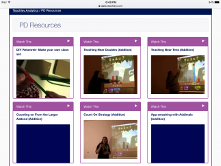 Teachers demonstrate mini math lessons with PD videos.