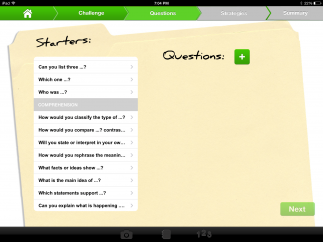 Kids can brainstorm questions to guide their work using prompts inspired by Bloom's Taxonomy.