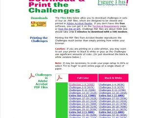 Learning Challenges can be viewed online or printed out in color or black and white.