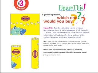 """Learning Challenge 3 – """"Popcorn"""" asks kids to decide which container will hold more popcorn."""