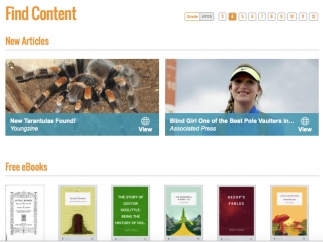 Great visual style makes it easy for kids to browse nonfiction articles. Some free e-books are also available.