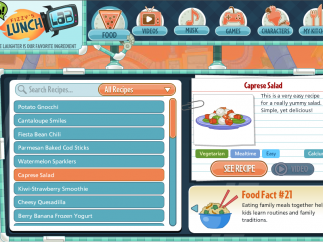 "Access recipe offerings under the ""Food"" tab; a rotating display shows fun food facts."