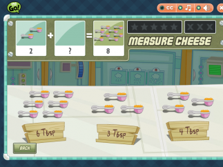 To earn points and unlock special recipe videos, kids must use their math skills in Corporal Cup's Food Camp.