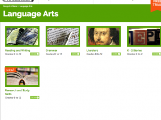From the site's homepage, click on the Language Arts link.