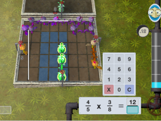 While farming, use area models to learn fraction multiplication.