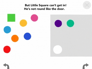 After playing together, the circles go inside but the square can't join them.