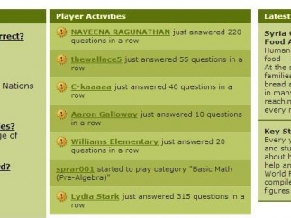 Below the activity section of the site are FAQs, links to information on world hunger, and a tally of player activity.
