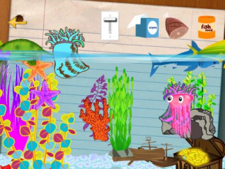 Kids love the colorful fish tank to add fishy rewards, clean, and feed fish.