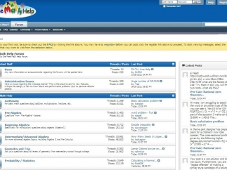 Forum main page lists administrative stuff and news first, then help by topic, including latest posts at right.