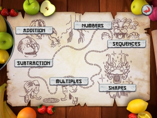 Six skill categories are arranged on an interactive map.
