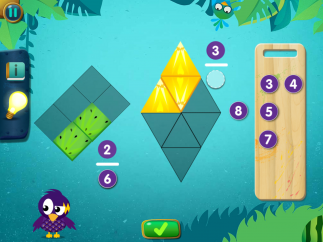 Kids practice by dragging and dropping shapes and numbers.