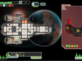 A spaceship battle with an enemy drone (right). Some of the rooms in each ship house a system (weapons, shields, etc.), and can be specifically targeted.