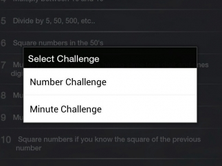 """The challenge game options are """"Number Challenge"""" and """"Minute Challenge."""""""