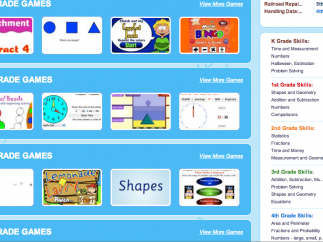 Games are listed by grade level and subject matter.